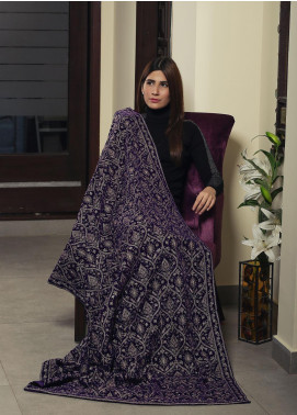 Royal Gallery Embroidered Velvet  Shawl ROG19S 8 Royal Blue - Winter Luxury Collection