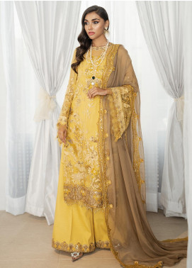 Rouge by Saira Rizwan Embroidered Chiffon Unstitched 3 Piece Suit RSR19C 01 Jaune - Wedding Collection