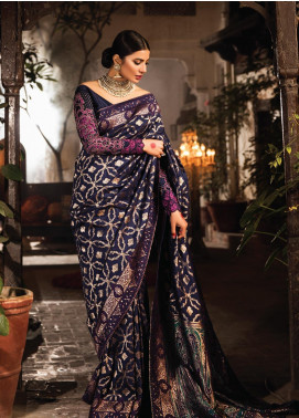 Zarqash Embroidered Banarsi Unstitched Saree ZRQ20WE 4 RUHI - Wedding Collection