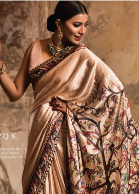 Zarqash Embroidered Charmeuse Silk Unstitched Saree ZRQ20WE 8 TANIS - Wedding Collection