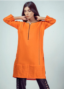 Rubab Qureshi Embroidered Cotton Net Stitched Kurtis LA-70SO Orange