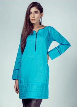 Rubab Qureshi Embroidered Cotton Net Stitched Kurtis LA-70SO Sky Blue