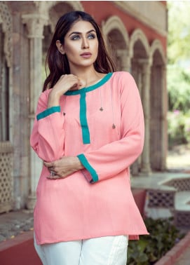 Rubab Qureshi Embroidered Cotton Net Stitched Kurtis P-2006 Pink