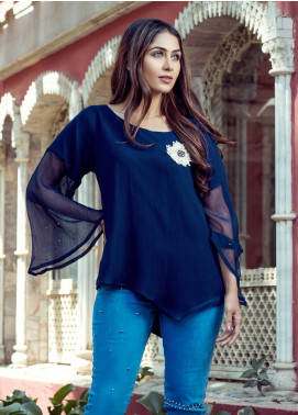 Rubab Qureshi Embroidered Chiffon Stitched Kurtis SP-60CB Blue
