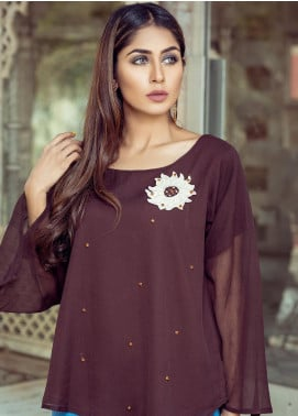 Rubab Qureshi Embroidered Chiffon Stitched Kurtis SP-60CB Brown
