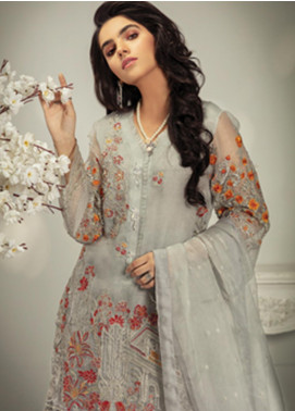 Rungrez Embroidered Organza Unstitched 3 Piece Suit RNG19C 2 NIL GRIS - Luxury Collection