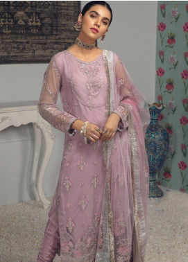 Rungrez Embroidered Chiffon Unstitched 3 Piece Suit RNG19C 3 VIOLA - Luxury Collection