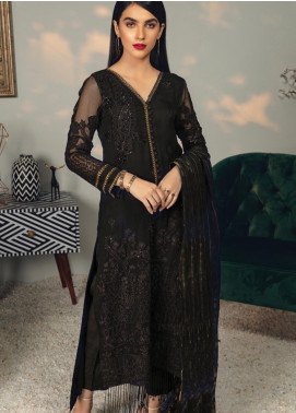 Rungrez Embroidered Chiffon Unstitched 3 Piece Suit RNG19C 4 BLACKSWAN - Luxury Collection