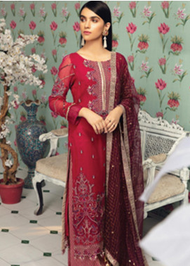 Rungrez Embroidered Chiffon Unstitched 3 Piece Suit RNG19C 6 RUBIS - Luxury Collection