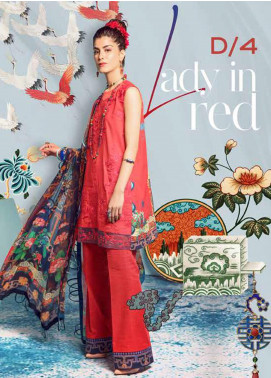 Rungrez Embroidered Lawn Unstitched 3 Piece Suit RNG20R LADY IN RED D-4 - Luxury Collection