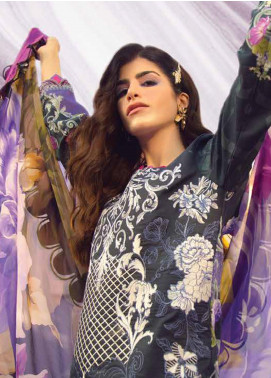 Rungrez Embroidered Lawn Unstitched 3 Piece Suit RNG20R STARRY NIGHT D-10 - Luxury Collection