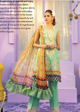 Rungrez Embroidered Lawn Unstitched 3 Piece Suit RNG20R THE KISS D-9 - Luxury Collection