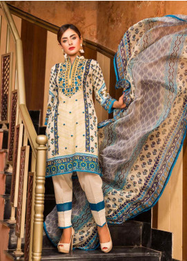 Ruqayyah Embroidered Lawn Unstitched 3 Piece Suit RQY19L 05B - Mid Summer Collection