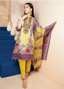 RUQAYYAH'S by MTF Embroidered Lawn Unstitched 3 Piece Suit R20MTF 5B - Spring / Summer Collection