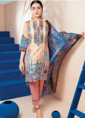 RUQAYYAH'S by MTF Embroidered Lawn Unstitched 3 Piece Suit R20MTF 6A - Spring / Summer Collection