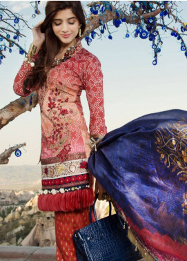 Saadia Asad Embroidered Lawn Unstitched 3 Piece Suit SA18F 05 - Eid Collection