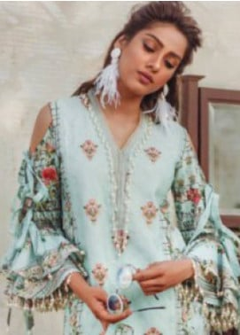 Noor By saadia asad Embroidered Lawn Unstitched 3 Piece Suit SA18L 02 BLUE BREEZE - Luxury Collection