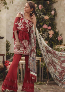 Noor By saadia asad Embroidered Lawn Unstitched 3 Piece Suit SA18L 03 SHINING ROSE - Luxury Collection