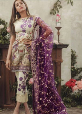 Noor By saadia asad Embroidered Lawn Unstitched 3 Piece Suit SA18L 08 GLAM GATEWAY - Luxury Collection