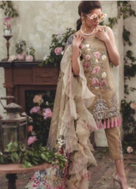 Noor By saadia asad Embroidered Lawn Unstitched 3 Piece Suit SA18L 10 GOLD DIPPED - Luxury Collection