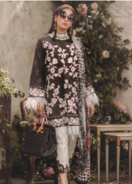 Noor By saadia asad Embroidered Lawn Unstitched 3 Piece Suit SA18L 13 MONOCHROME - Luxury Collection