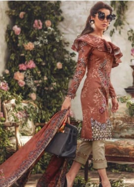 Noor By saadia asad Embroidered Lawn Unstitched 3 Piece Suit SA18L 15 INDULGE - Luxury Collection