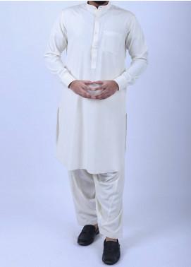 Sanaulla Exclusive Range Boski Plain Texture Men Kameez Shalwar - Off White SA18SH 002