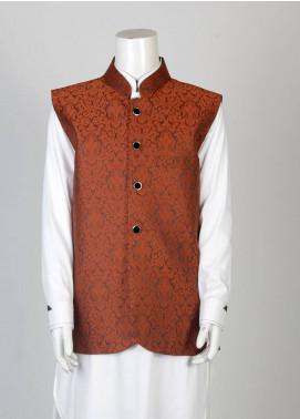 Sanaulla Exclusive Range Banarsi Fancy Boys Waistcoat - Maroon SA18W 002