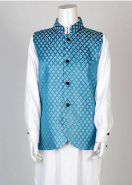 Sanaulla Exclusive Range Banarsi Fancy Waistcoat for Boys - Blue SA18W 003