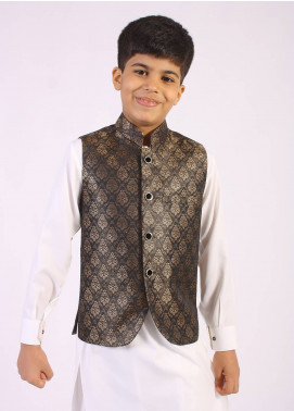 Sanaulla Exclusive Range Jamawar Fancy Boys Waistcoat - Golden SAB18W 005