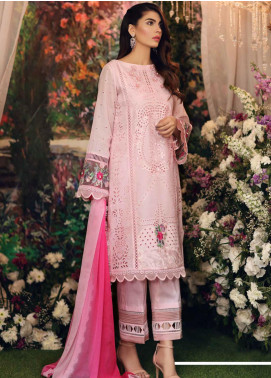 Sable Vogue Embroidered Lawn Unstitched 3 Piece Suit SV20SS 03 Porcelain Rose - Spring / Summer Collection