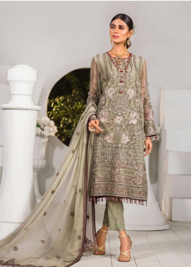 Safeera by Flossie Embroidered Chiffon Unstitched 3 Piece Suit FL20-SF6 07 Cadmium - Luxury Collection
