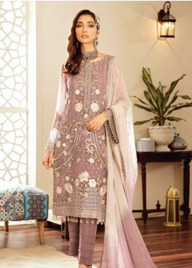 Safeera by Flossie Embroidered Chiffon Unstitched 3 Piece Suit SFR19-C5 07 Amethyst - Luxury Collection