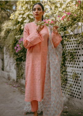 Saira Rizwan Embroidered Lawn Unstitched 3 Piece Suit SR20IS 6-Peach - Eid Collection