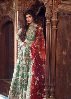 Saira Rizwan Embroidered Organza Unstitched 3 Piece Suit SR19NW HENNA - Bridal Wear Collection
