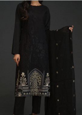 Salitex Embroidered Lawn Unstitched 3 Piece Suit ST20BW 18 - Black & White Collection
