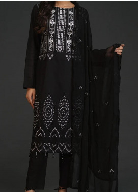 Salitex Embroidered Lawn Unstitched 3 Piece Suit ST20BW 19 - Black & White Collection