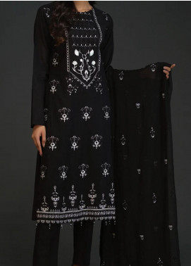 Salitex Embroidered Lawn Unstitched 3 Piece Suit ST20BW 20 - Black & White Collection