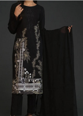 Salitex Embroidered Lawn Unstitched 3 Piece Suit ST20BW 21 - Black & White Collection