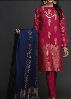 Salitex Embroidered Jacquard Unstitched 3 Piece Suit ST19-J2 401B - Luxury Collection
