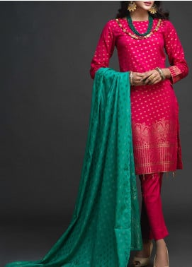 Salitex Embroidered Jacquard Unstitched 3 Piece Suit ST19-J2 402A - Luxury Collection