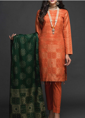 Salitex Embroidered Jacquard Unstitched 3 Piece Suit ST19-J2 404A - Luxury Collection