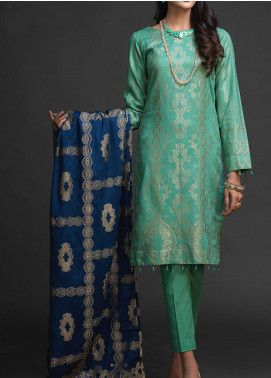 Salitex Embroidered Jacquard Unstitched 3 Piece Suit ST19-J2 406A - Luxury Collection
