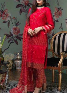 Salitex Embroidered Jacquard Unstitched 3 Piece Suit ST19LF-331 - Luxury Collection