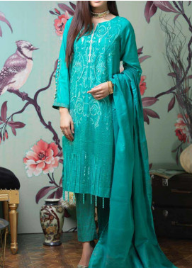 Salitex Embroidered Jacquard Unstitched 3 Piece Suit ST19LF-332 - Luxury Collection