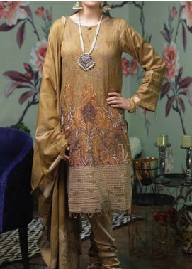Salitex Embroidered Jacquard Unstitched 3 Piece Suit ST19LF-340 - Luxury Collection