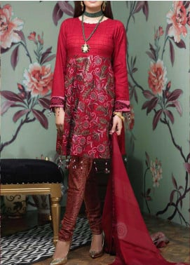 Salitex Embroidered Jacquard Unstitched 3 Piece Suit ST19LF-342 - Luxury Collection