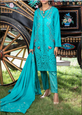 Salitex Embroidered Jacquard Unstitched 3 Piece Suit ST19-S4 386 - Luxury Collection