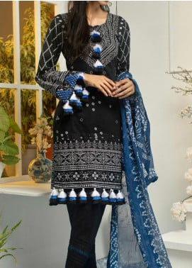 Samia by AB Textiles Printed Cotton Unstitched 3 Piece Suit AB20S 02 DARK BLEU - Winter Collection