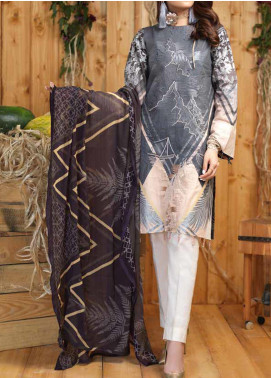 Sana & Sara Embroidered Lawn Unstitched 3 Piece Suit SLK19-L4 161B - Mid Summer Collection